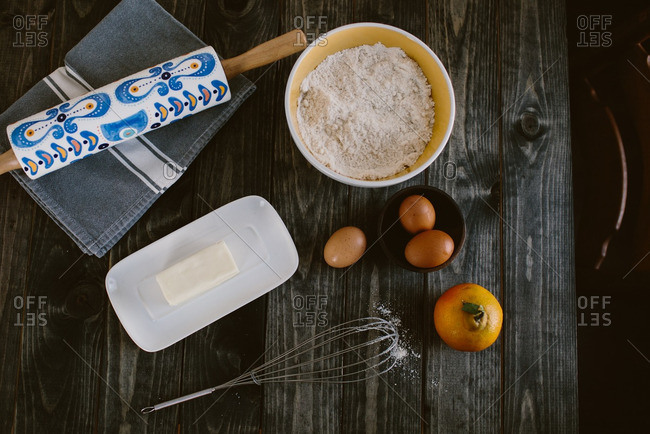 Baking ingredients on a rustic wooden table