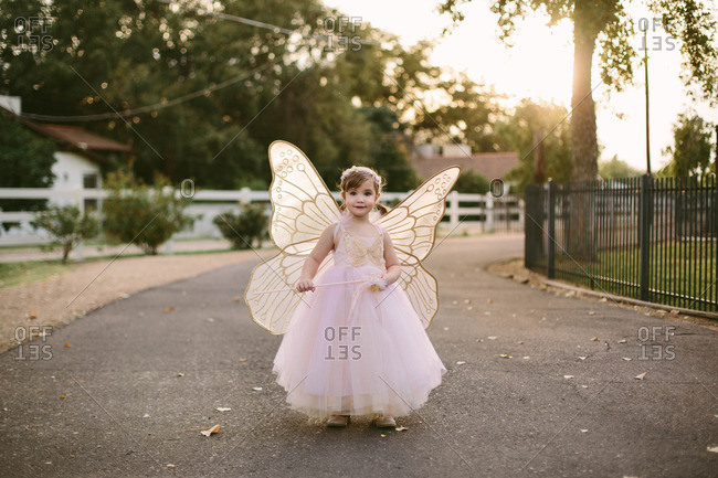 Girl in a fairy costume outdoors