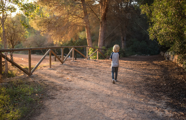 Boy walking on a dirt path at a park