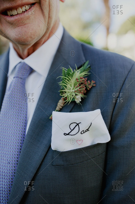 Dad with embroidered  handkerchief and boutonniere