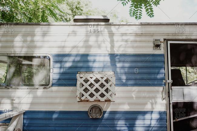 Exterior of a vintage trailer camper