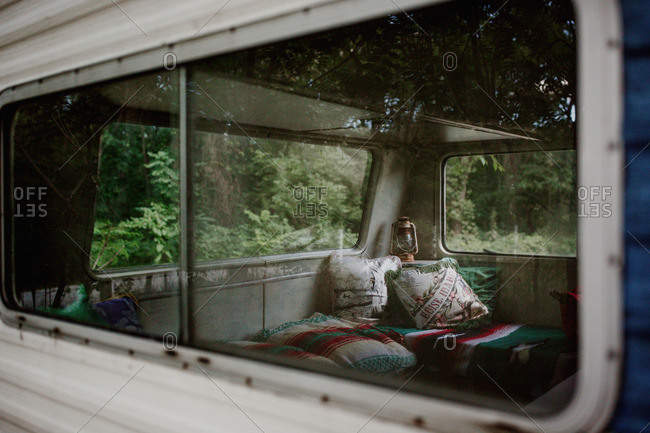 View in window of rustic trailer camper