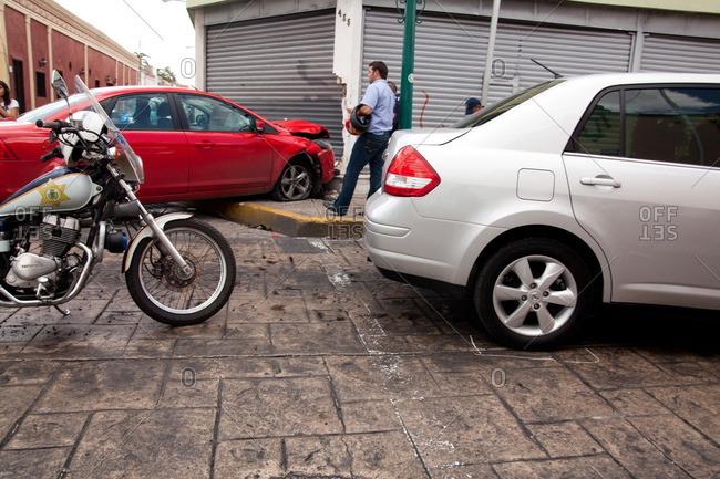 Merida, Yucatan - June 23, 2011: Car accident on the streets in Merida