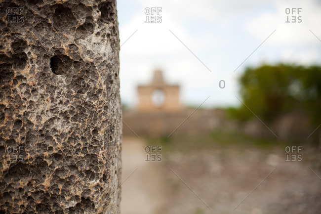 Close up of stone at the Mayan ruins of Dzibilchaltun in Yucatan, Mexico