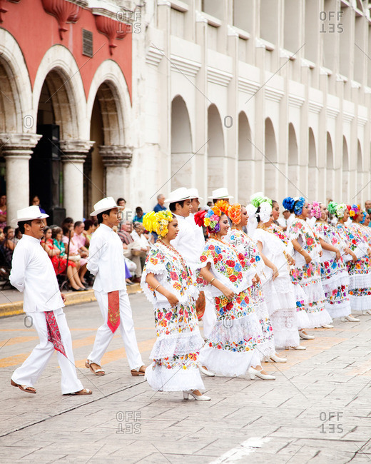 Merida, Yucatan - June 26, 2011: Jarana dancers dancing in the streets of Merida