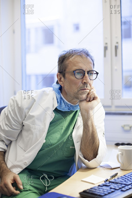 Doctor working at a desk