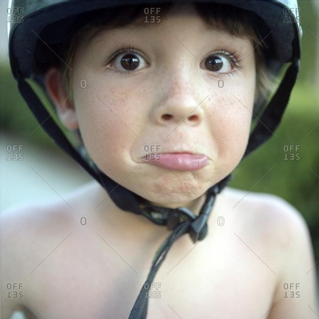 Portrait of boy wearing helmet