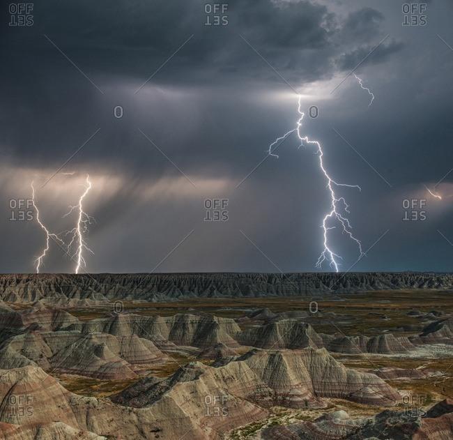 Lightning over Badlands National Park at night