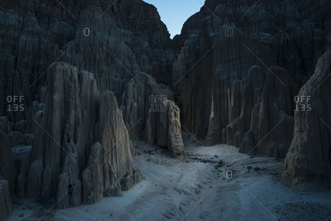 Cathedral Gorge State Park at dusk