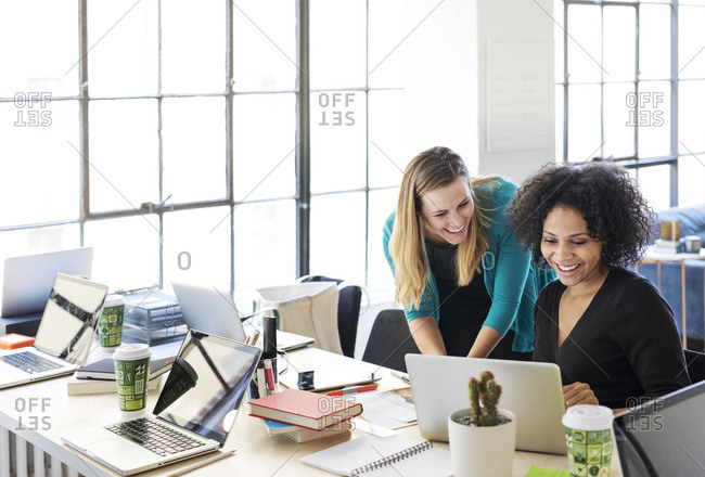 Happy businesswomen using laptop at brightly lit office