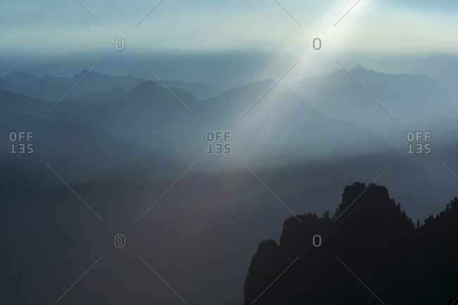 Scenic view of mountains during foggy weather at Mount Pilchuck State Park