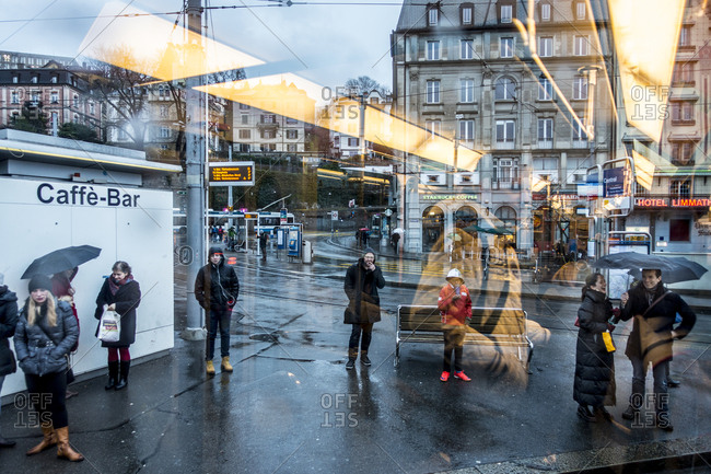 Zurich, Switzerland - February 20, 2016: Central square seen from inside tram