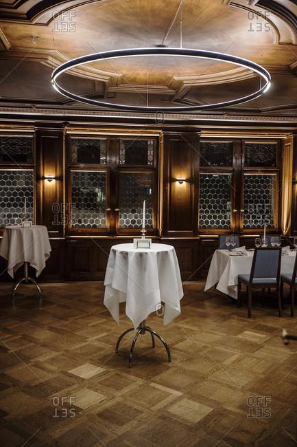 Tables in restaurant in Zurich, Switzerland