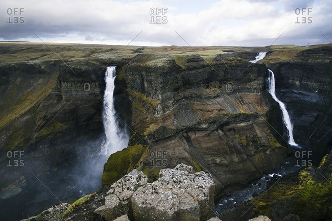 Scenic view of Haifoss waterfall