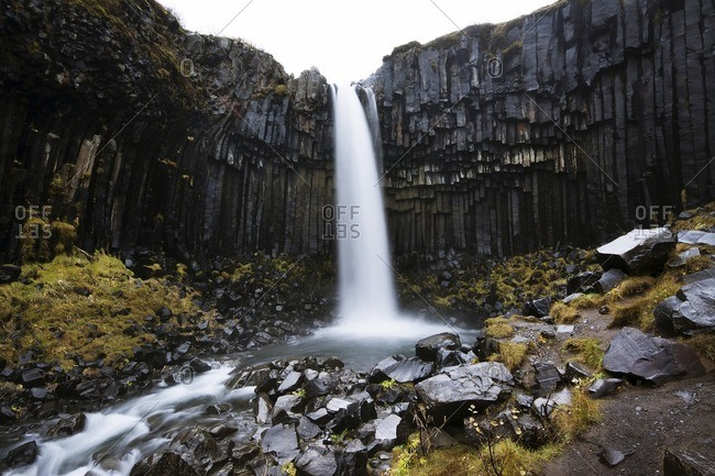 Scenic view of Svartifoss waterfall