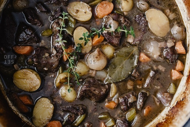 Overhead view of beef stew in bowl