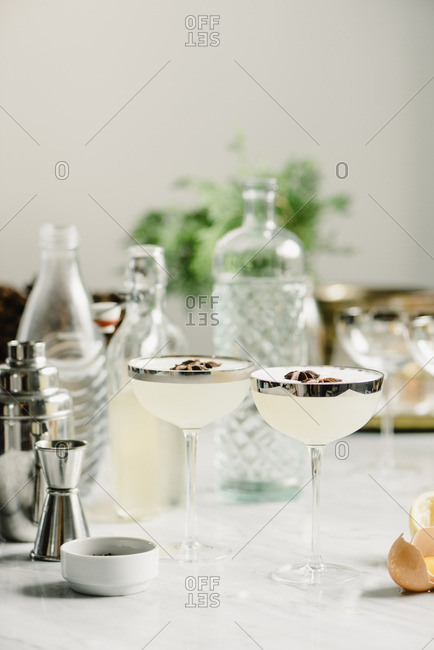 Drinks by bottles on table
