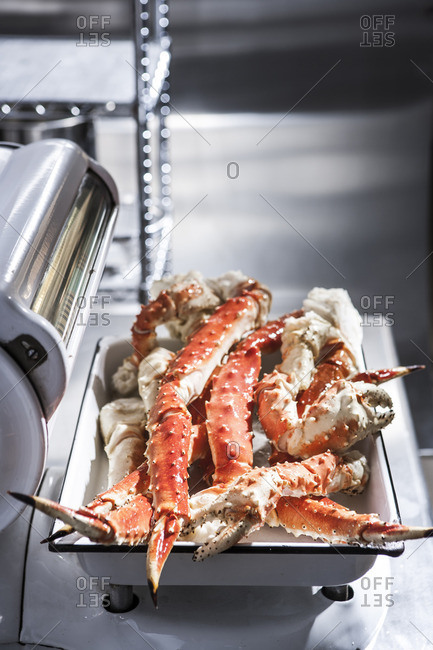 Crab legs on butcher scale