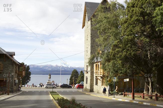 Bariloche, Argentina - February 28, 2016: Street with glacier lake views