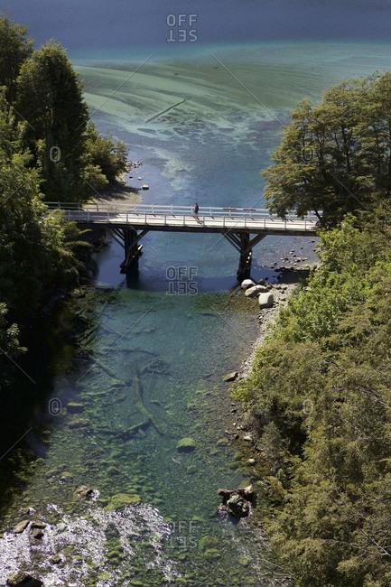 Villa la Angostura, Argentina - March 1, 2016: Bridge over Correntoso river