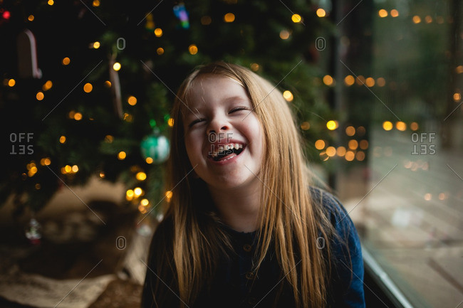 Portrait of happy girl at Christmastime