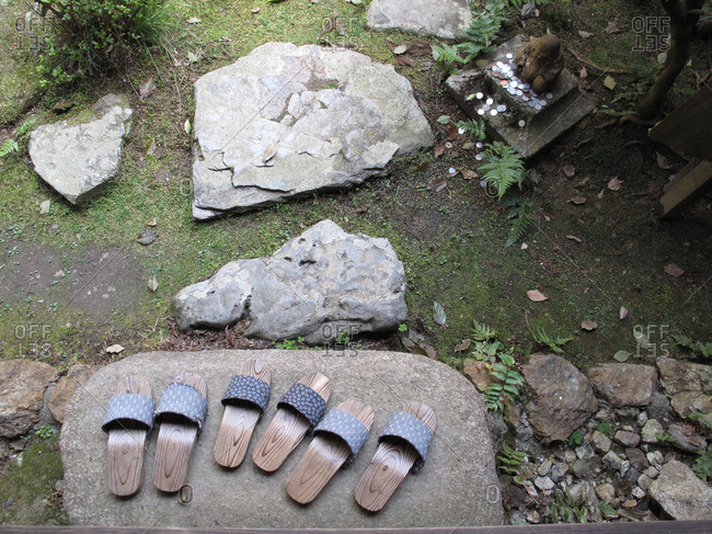 Slippers on a stone, Kyoto, Japan