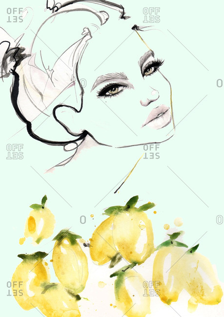Face of a woman and many lemons