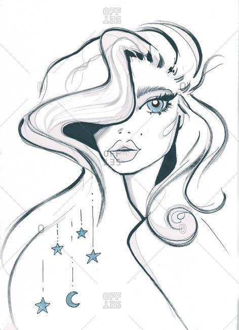 Woman with stars in her long wavy hair