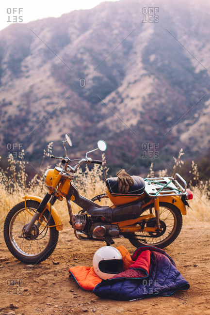 Motorbike with sleeping bag beside it, Sequoia National Park, California, USA