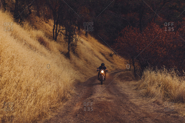 Man riding motorbike at dusk, Sequoia National Park, California, USA