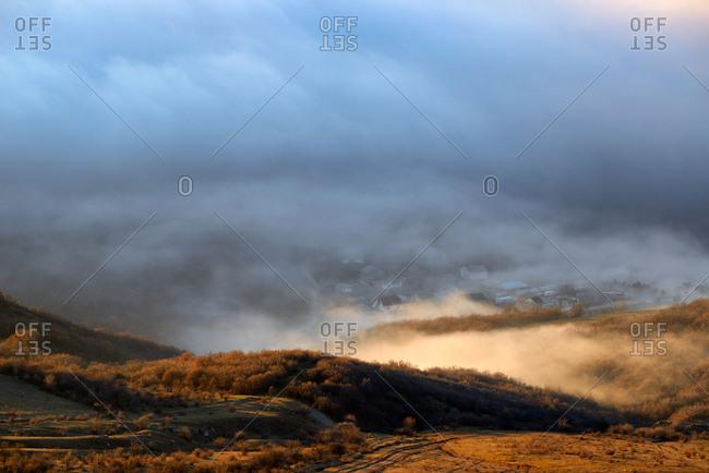 View of mountain mist from Luchistoye Village, South Demergi mountain, Crimea, Ukraine
