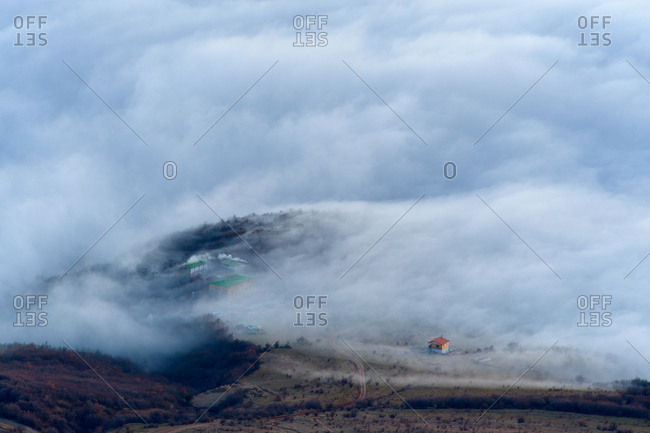 View of dispersing mountain mist from Luchistoye Village, South Demergi mountain, Crimea, Ukraine