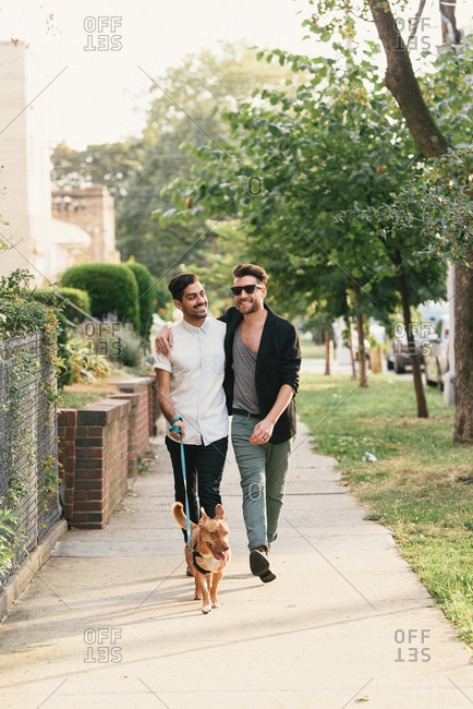 Young male couple walking dog on suburban sidewalk