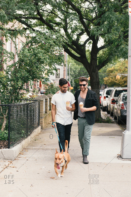 Young male couple eating ice cream cones whilst walking dog on suburban sidewalk