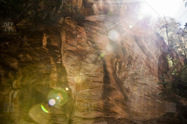 Sunlight falling on rock formation in Coconino National Forest