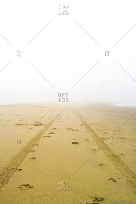 Tire tracks on sand at beach during foggy weather