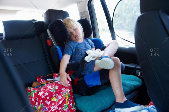 Girl sleeping in the car