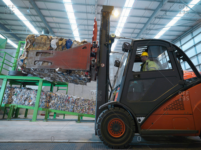 Forklift Truck In Recycle Plant