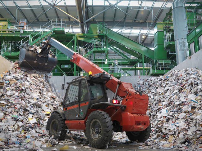 Digger Sorting Recycled Paper - Offset