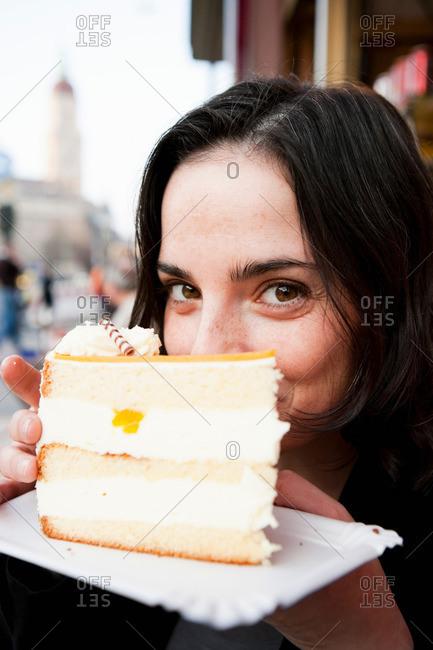 Woman Eating Tart
