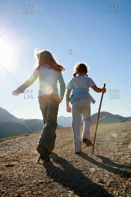 Girls hiking on Mountain