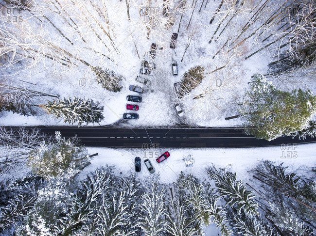 Parking lot in the winter forest in Vilnius, Lithuania