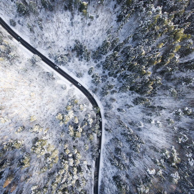 Aerial view of a curved road in Vilnius, Lithuania