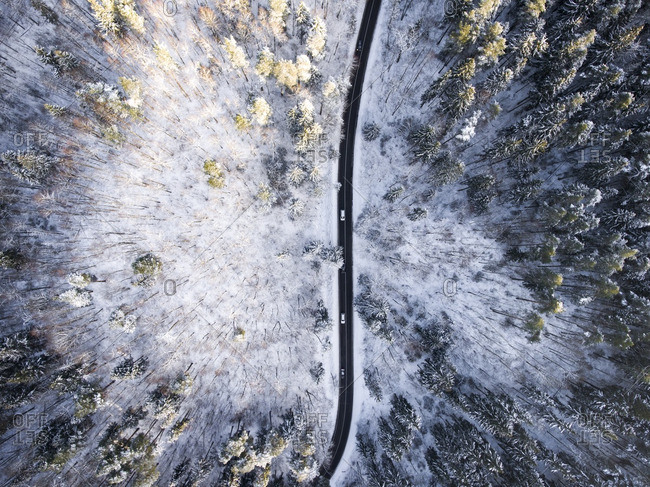 Overhead view of a wintery road in Vilnius, Lithuania