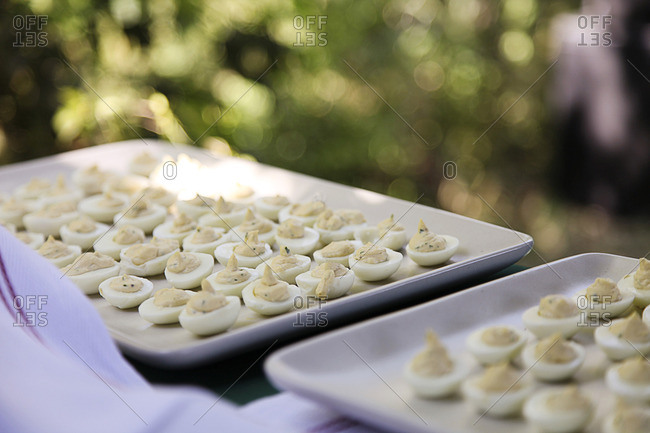 Deviled eggs on a tray for party outdoors