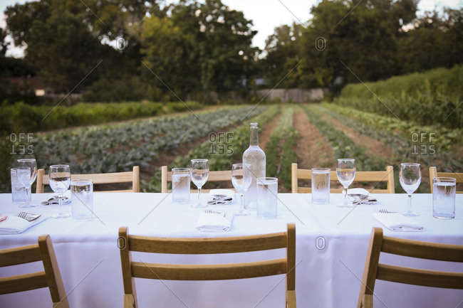 Table set for outdoor dinner with white tablecloth and glasses with water