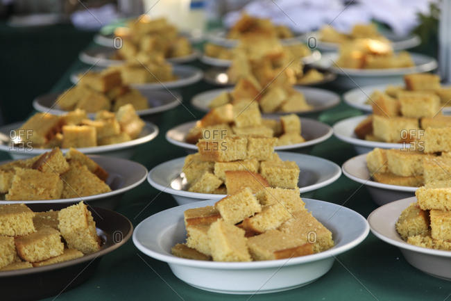 Cornbread in bowls for large party outdoors