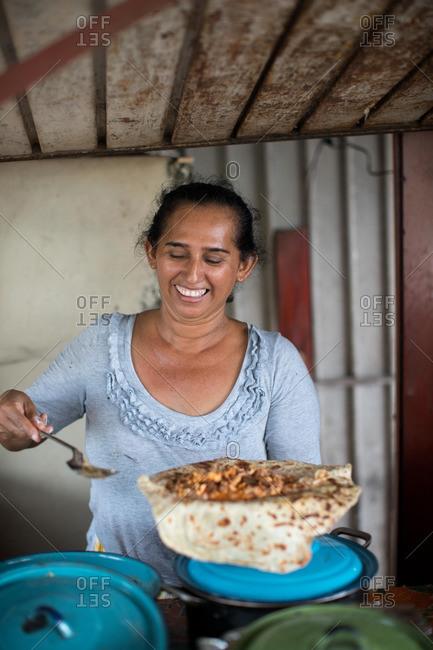 Preparing food in a tortilla