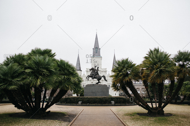 Andrew Jackson statue and St. Louis Cathedral against clear sky