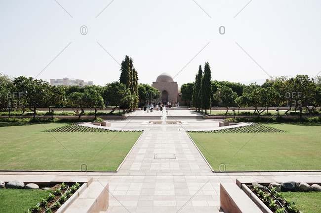 Oman - October 19, 2016: Formal garden at Sultan Qaboos Grand Mosque